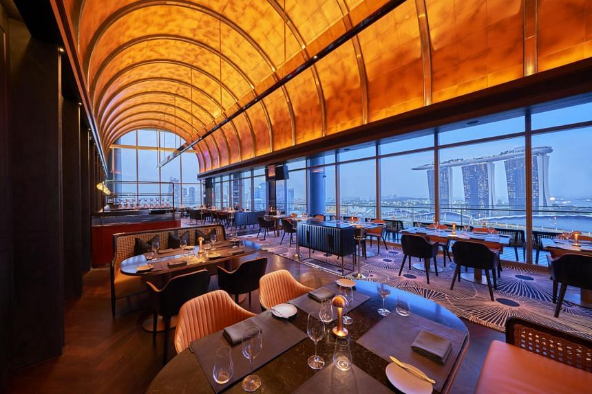 A panoramic vista of Marina Bay greets diners when they step into the Western grill which opened on Oct 21.