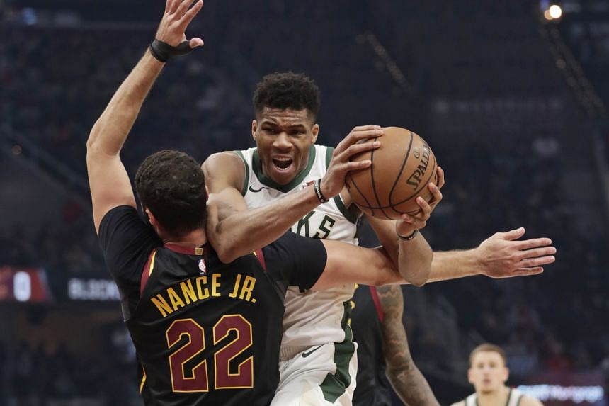 The Milwaukee Bucks' Giannis Antetokounmpo in action during the NBA match against the Cleveland Cavaliers in Cleveland on Nov 29, 2019.