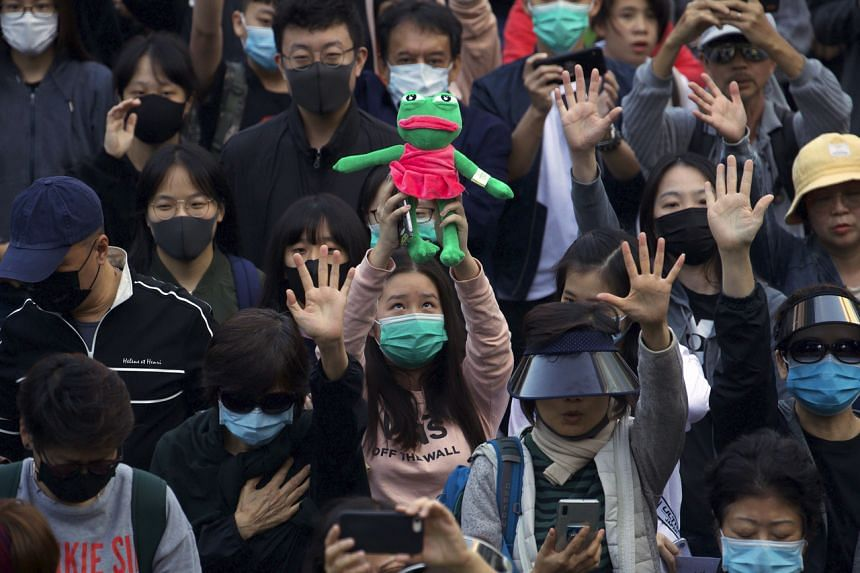 Protesters at a rally for students and elderly pro-democracy demonstrators in Hong Kong on Nov 30, 2019.