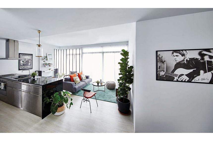 The walls were repainted white to achieve the monochrome look the home owners wanted.