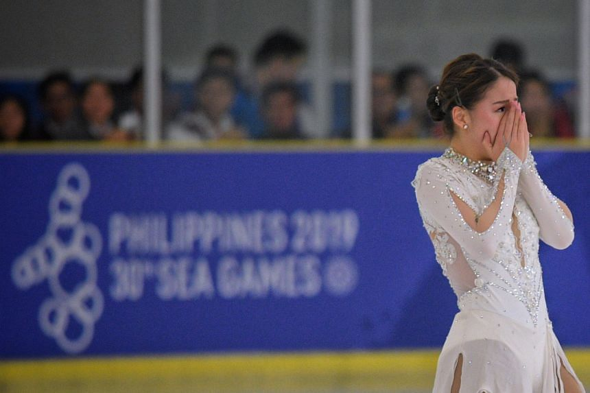 Figure skater Chloe Ing reacting after completing her routine at the SEA Games on Dec 1, 2019.
