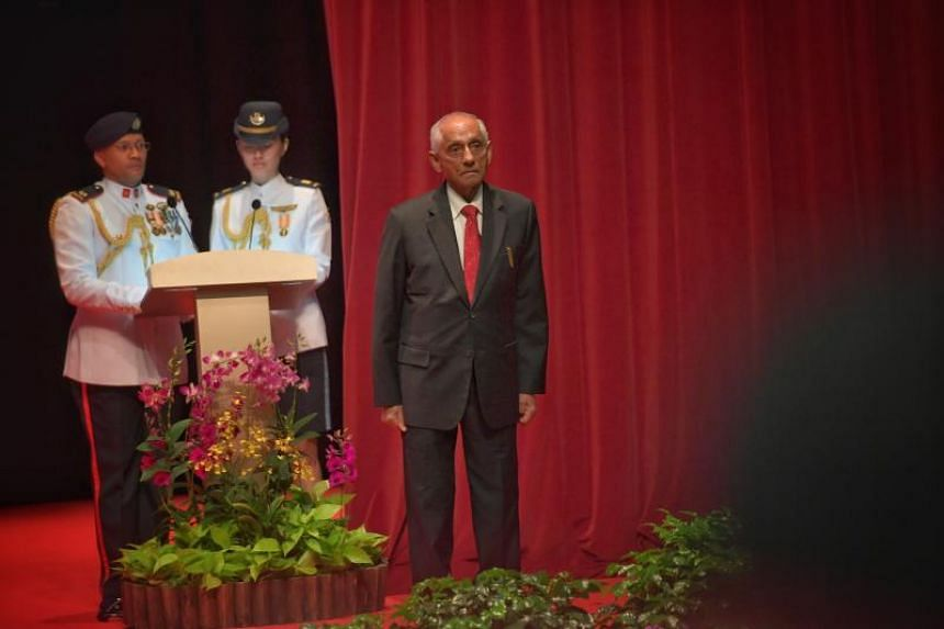 Mr J Y Pillay, former chairman of the Council of Presidential Advisers, at the Investiture of the 2019 National Day Awards held at ITE College Central, on Dec 1, 2019.