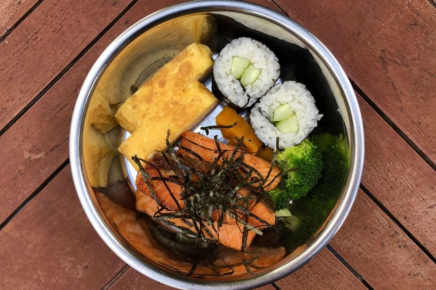 Salmon Bento Set (above) from Ah B Cafe in Turf Club Road.