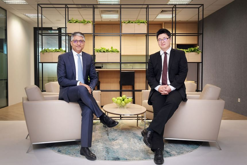 Mr Neeraj Seth (left) heads the Asian credit unit within BlackRock's Asia-Pacific active investments group, while Mr Eric Liu is the portfolio manager responsible for managing the China Bond Fund and leading the China onshore fixed-income investment team