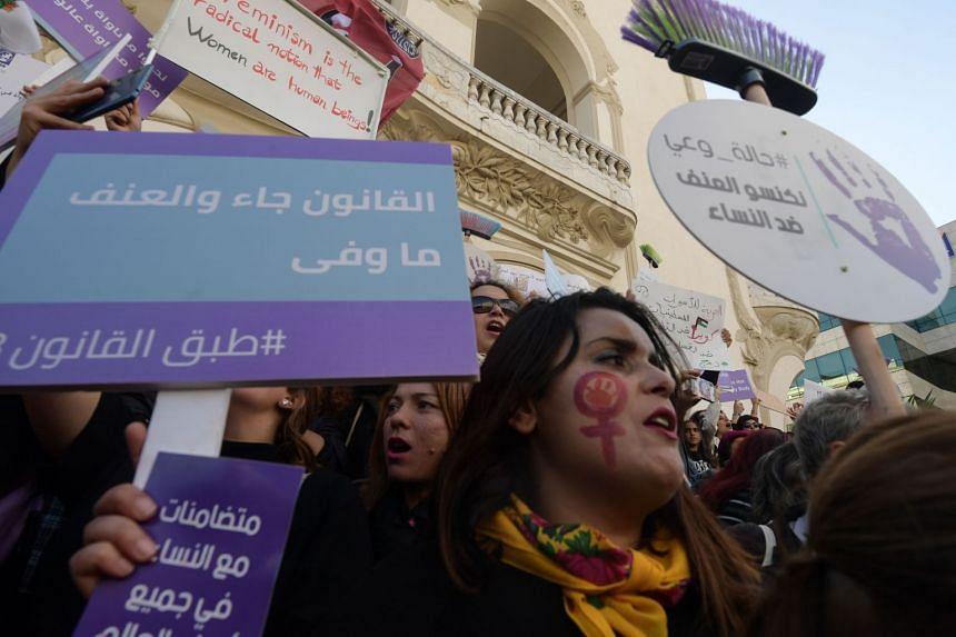 Tunisian women rally in the capital Tunis on Nov 30, 2019.