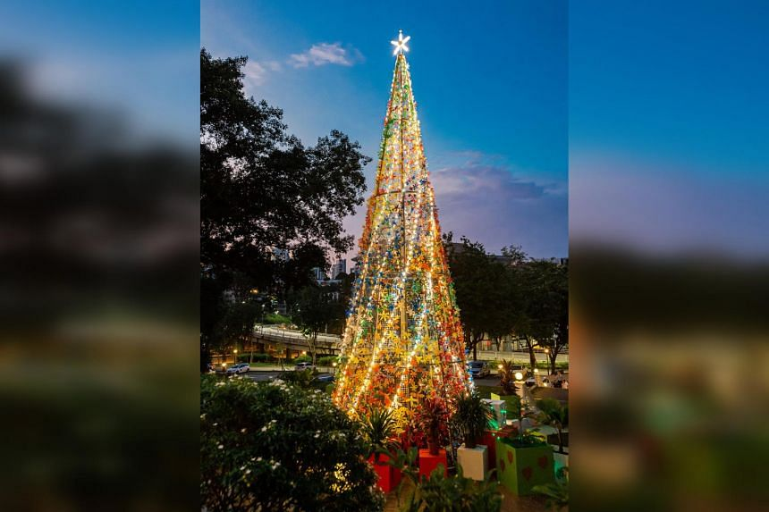 The 12.8m-tall multicoloured tree in Fort Canning Park, made with flowers from 3,000 discarded plastic bottles, is Singapore's tallest sustainable tree made up of plastic bottles.