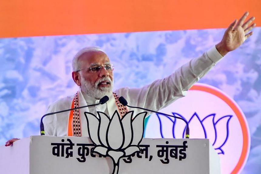 Indian PM Narendra Modi speaking at a rally in Mumbai on Oct 18 2019. Indian billionaire Rahul Bajaj said the government was doing a good job but despite that businesses are not confident it would appreciate if they openly criticise