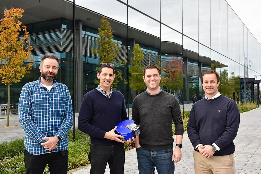 Some Dyson engineers outside the D9 laboratory in Malmesbury, Britain - (from left) Dr Mike Rendall, head of energy storage industrialisation; Dr Vincent Clerc, director of robotics research; Mr Duncan Smith, head of research in energy storage; and Mr Her