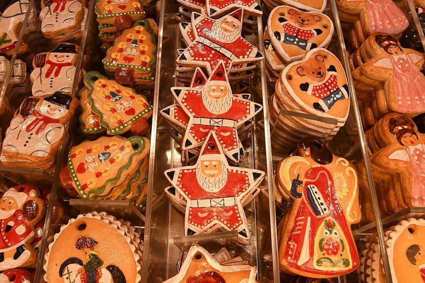 Christmas gingerbread cookies for sale at the traditional Christmas Market in Nuremberg, southern Germany.