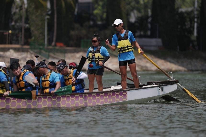 Mr Benson Loo trains with other members of Team DragonSail for the DB Hearts Challenge 2019 at PAssion WaVe @ Marina Bay, on Oct 19, 2019.