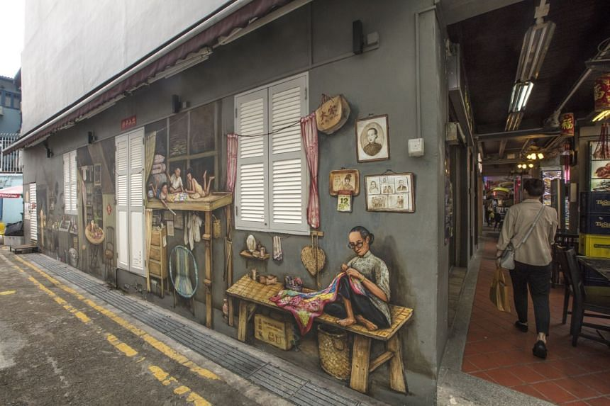 A mural titled My Chinatown Home by artist Yip Yew Chong.