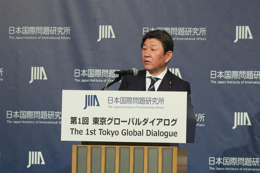 Japanese Foreign Minister Toshimitsu Motegi delivers his first foreign policy speech at the 1st Tokyo Global Dialogue on Dec 2, 2019.