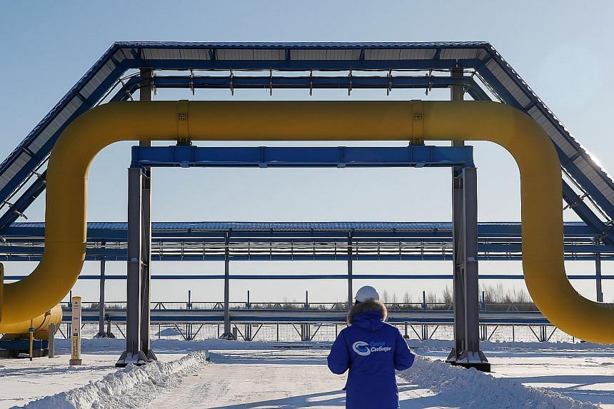 A part of Gazprom's Power of Siberia gas pipeline at the Atamanskaya compressor station outside the town of Svobodny in the Russian Far East's Amur region.