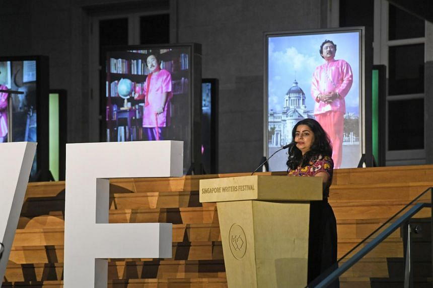 Singapore Writers Festival director Pooja Nansi giving her opening address at the opening ceremony of the festival.