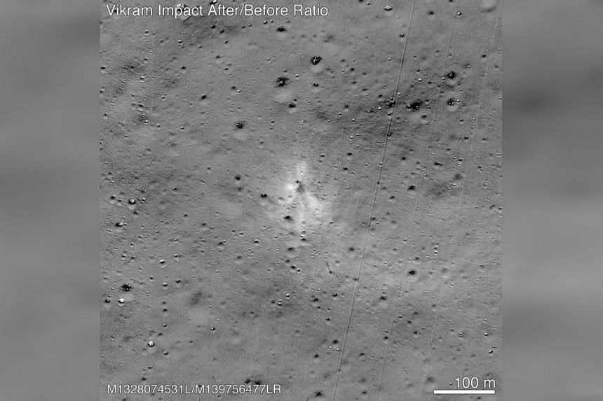 Nasa released an image taken on Spet 7 by its Lunar Reconnaissance Orbiter that showed the site of the Vikram lunar lander's impact.