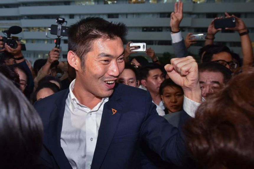 In a photo taken on Nov 20, 2019, Future Forward Party leader Thanathorn Juangroongruangkit greets supporters after the constitutional court hearing in Bangkok.