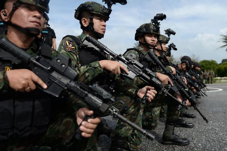 In a photo taken on Nov 22, 2019, Royal Thai Marines gather in formation during a ceremony in Chulabhorn Camp in Thailand's southern province of Narathiwat.