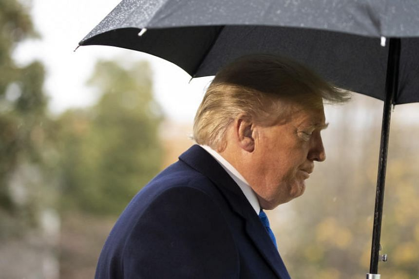 US President Donald Trump walks to Marine One after speaking with reporters on the South Lawn of the White House before departing for London on Dec 2, 2019.