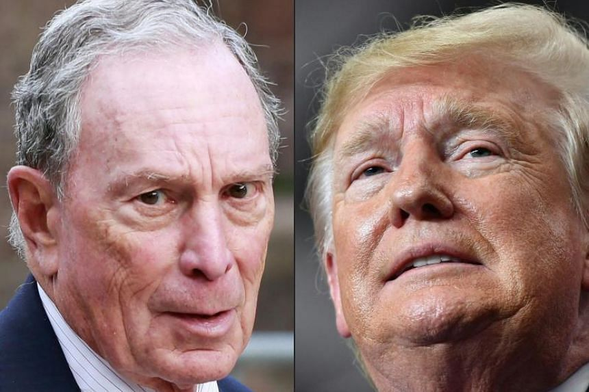 """US President Donald Trump's campaign said on Dec 2, 2019 it was banning journalists from Bloomberg News from its electoral events, claiming """"bias"""" by the media group owned by presidential rival Michael Bloomberg (left)."""