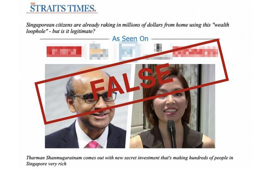 The fake website uses made-up quotes from Monetary Authority of Singapore chairman Tharman Shanmugaratnam.