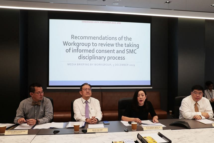 The Workgroup to Review the Taking of Informed Consent and SMC Disciplinary Process, comprising (from left) Adjunct Assistant Professor Tan Tze Lee, Dr Lee Yik Voon, Senior Counsel Kuah Boon Theng, who co-chaired the work group, and Dr Wong Chiang Yi
