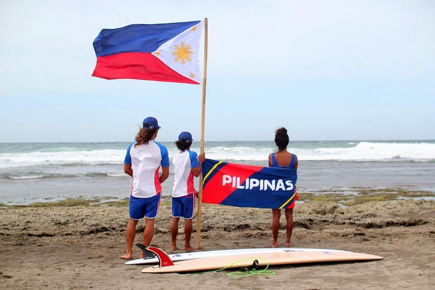 The Filipino surfing team members during the surfing events of the Southeast Asian Games in San Juan, La Union province, Philippines, on Dec 2, 2019.