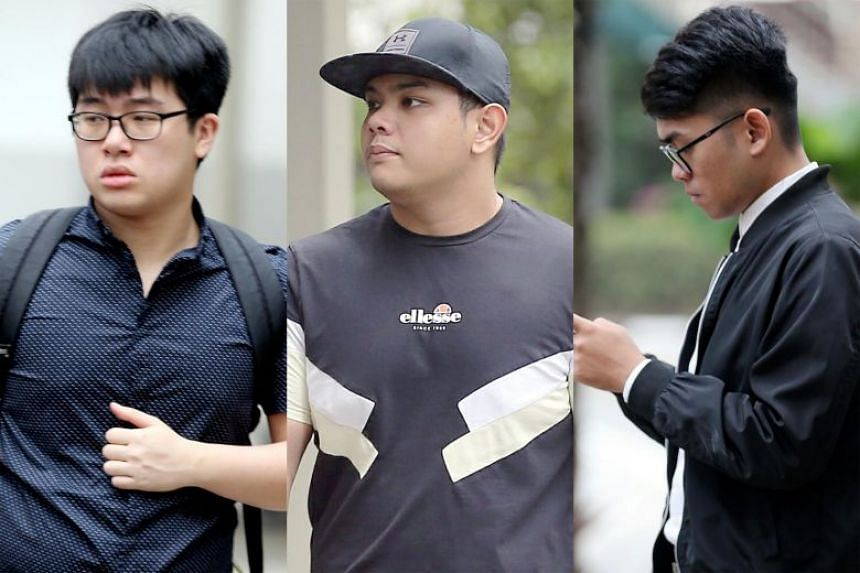 From left: Brandon Tan Jien Jet and Muhammad Zaki Haji Mokhtar, who both pleaded guilty to one charge under the OSA, were each fined $1,500, while Muhammad Arif Azman was fined $3,000 after pleading guilty to two charges.