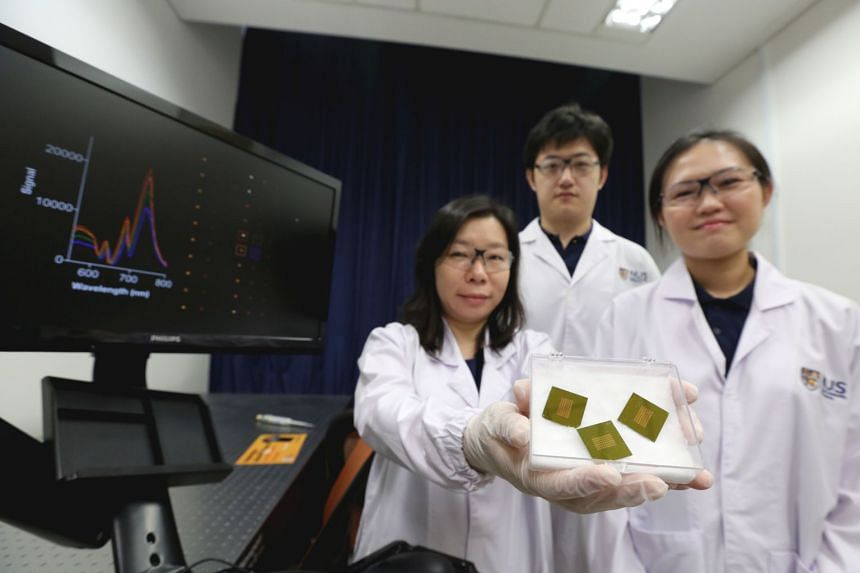 (From left) Dr Shao Huilin and National University of Singapore doctoral students Carine Lim and Zhang Yan of the NUS research team which shook the medical science field when they developed a tool to diagnose Alzheimer's disease through a simple and