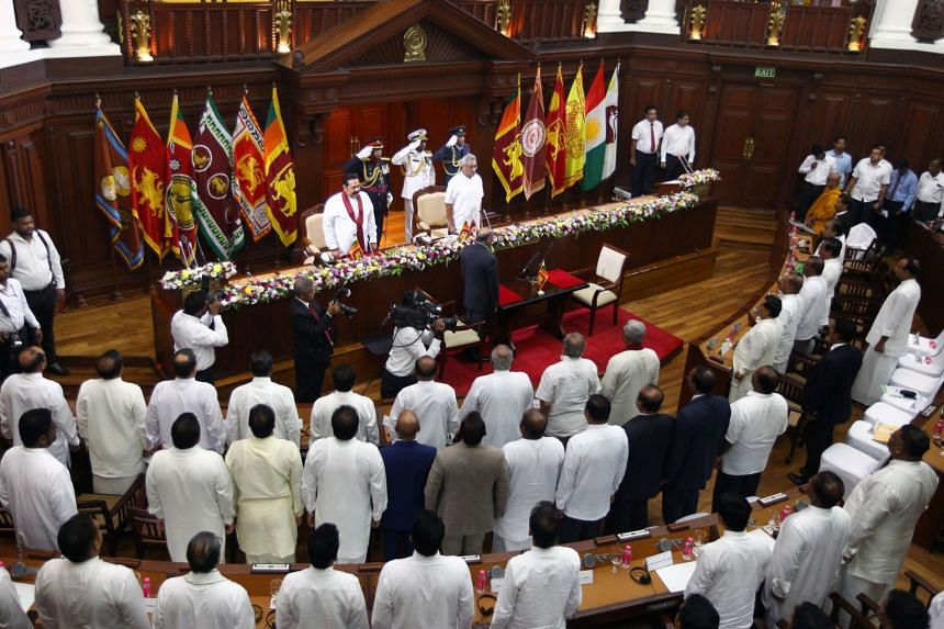 A photo taken on Nov 27, 2019, shows MPs attending the ministerial swearing-in ceremony at the Presidential Secretariat in Colombo.