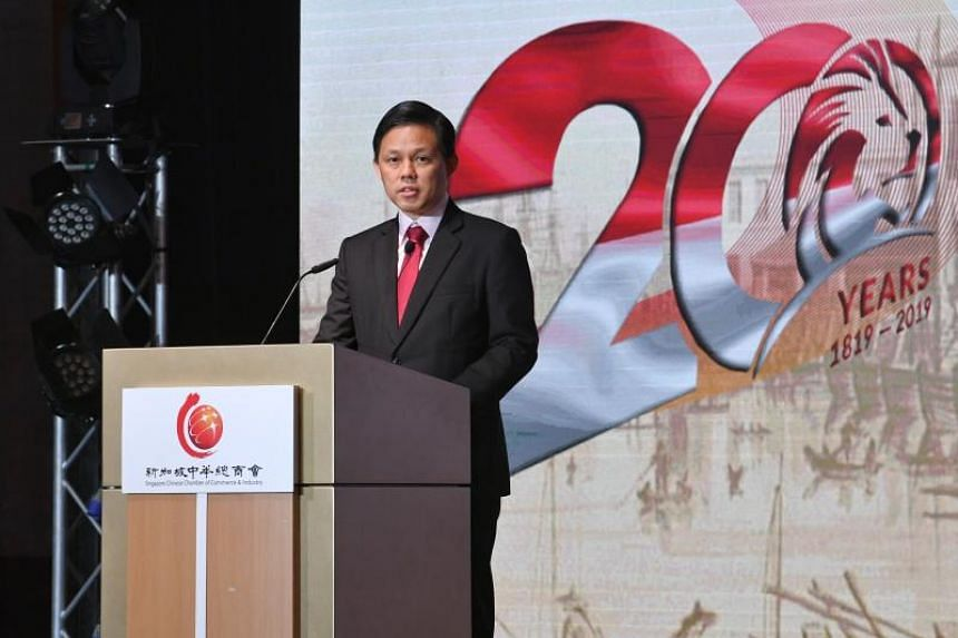 Trade and Industry Minister Chan Chun Sing speaking at a bicentennial commemoration dinner organised by the Singapore Chinese Chamber of Commerce and Industry on Dec 3, 2019.