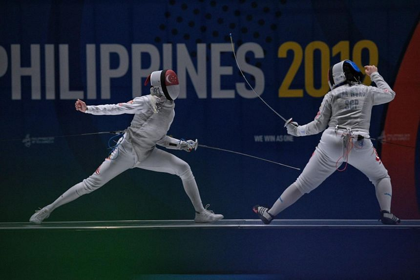 Amita Berthier (left) and Maxine Wong in action during the all-Singapore Women's Foil final held in Manila on Dec 3, 2019.