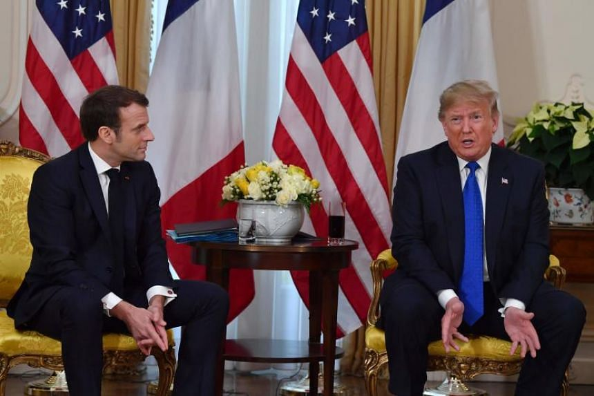 US President Donald Trump and French President Emmanuel Macron at Winfield House in London on Dec 3, 2019.
