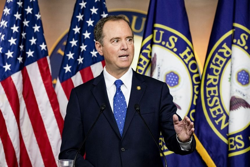 Democrat Adam Schiff, Chairman of the United States House Permanent Select Committee on Intelligence, makes a statement in a press conference on the progression of the impeachment investigation of President Donald Trump.