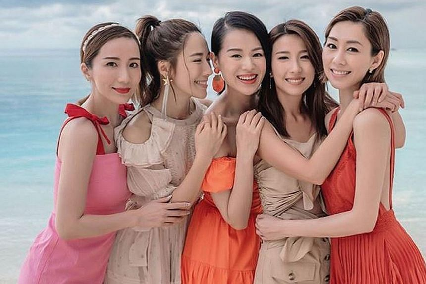 (From left) Paisley Hu, Selena Lee, Myolie Wu, Elaine Yiu and Nancy Wu. DOING NONSENSE TOGETHER: Who says current and former TVB artists cannot be close friends even if they had vied to be top dog at the Hong Kong station? That firm declaration of so