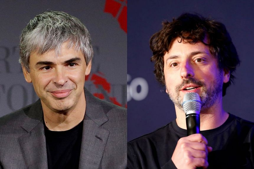 A 2016 photo shows Sergey Brin (left), while a 2015 photo (right) shows Larry Page.