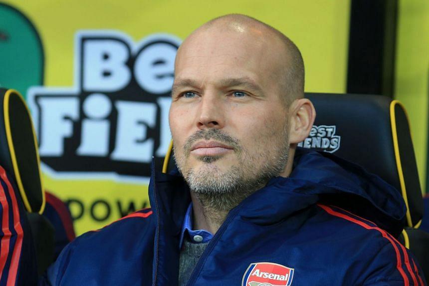 Arsenal's interim head coach Freddie Ljungberg awaits kick off against Norwich City on Dec 1, 2019.