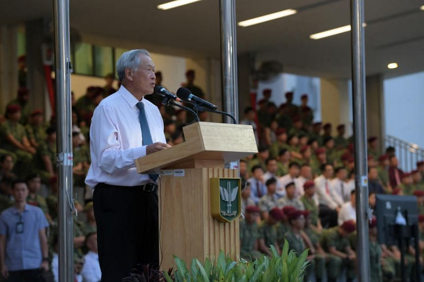 Defence Minister Dr Ng Eng Hen addresses the crowd at the Singapore Armed Forces Commandos 50th anniversary celebrations at the Hendon Camp on Dec 4, 2019.