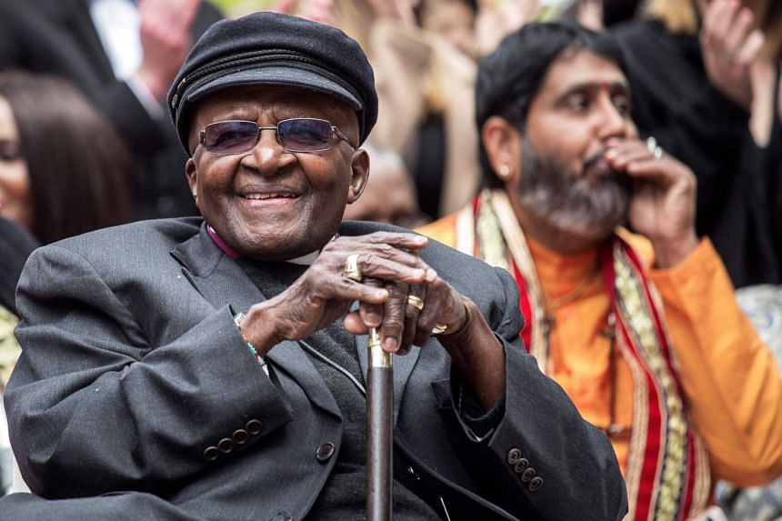 A 2017 photo shows Archbishop Desmond Tutu attending an event to mark his 86th birthday in Cape Town.