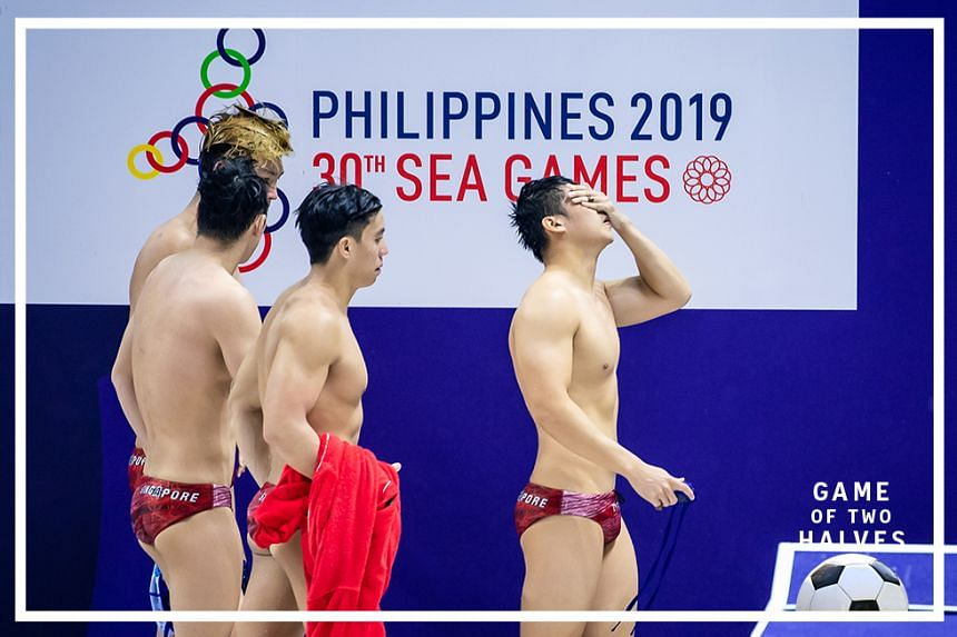 The Singapore team were crestfallen after their first-ever defeat in the competition. Singapore lost 5-7 to Indonesia at the SEA Games men's water polo event in at the New Clark City Aquatics Center, Philippines, on 28 November 2019.