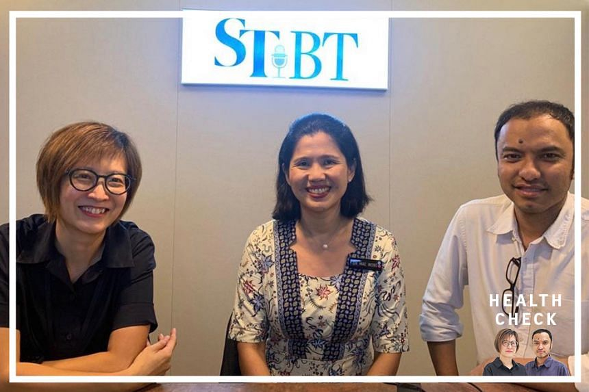 ST correspondent Joyce Teo and head of podcasts Ernest Luis host Dr Mae Wong (centre), a senior consultant at the department of child development at KK Women's and Children's Hospital, on this week's episode of Health Check.