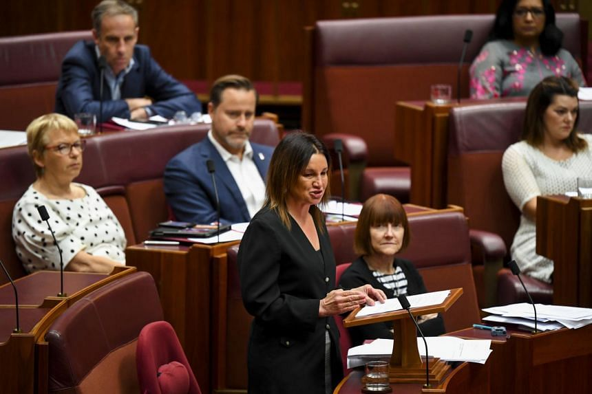 Senator Jacqui Lambie speaks during debate in the Senate chamber at Parliament House in Canberra, on Dec 4, 2019. The law was repealed in a tight vote after the government negotiated Ms Lambie's support.