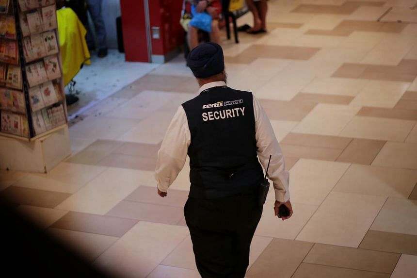 A security guard at Bedok Mall on Nov 1, 2019.