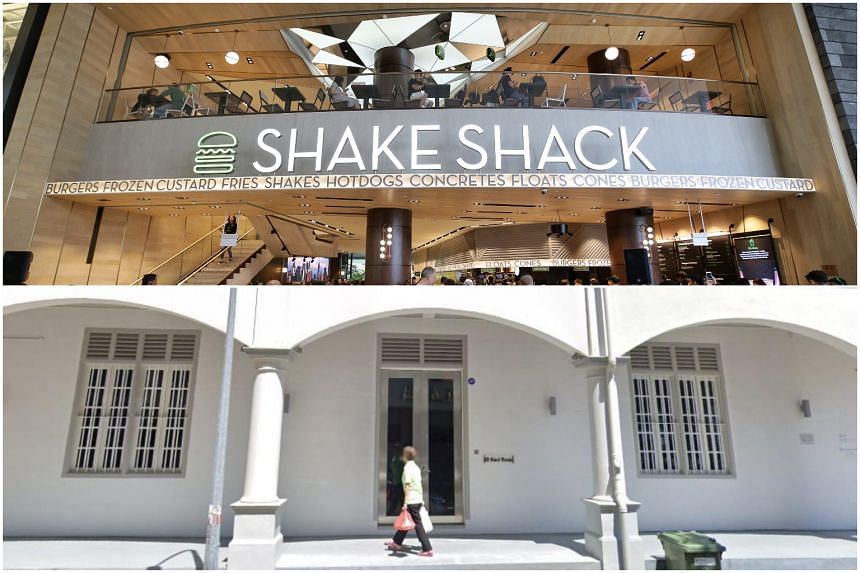 (Top) Shake Shack's current outlet at Jewel Changi Airport. (Bottom) The location of the second outlet at 89 Neil Road, which used to be a factory producing Tiger Balm.