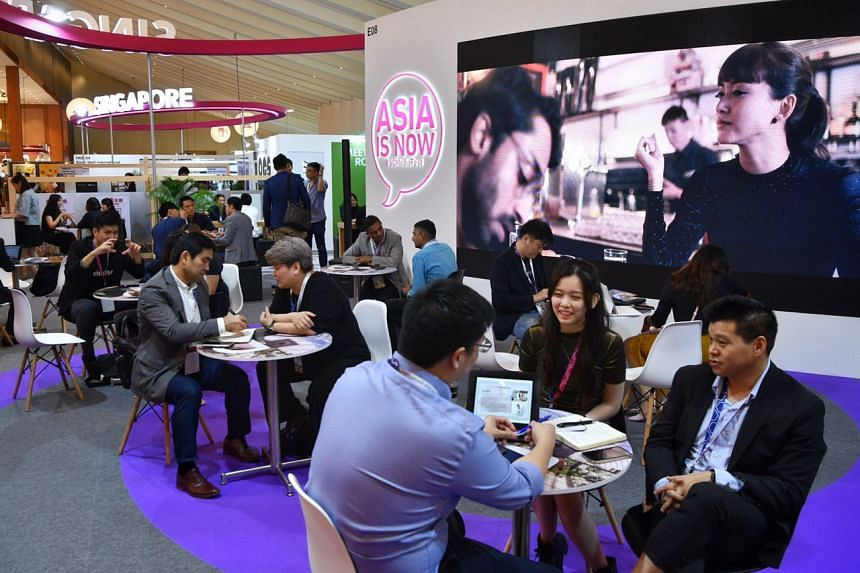 Visitors at the Singapore booth at the Asia Tv Forum & Market on Dec 4, 2019.