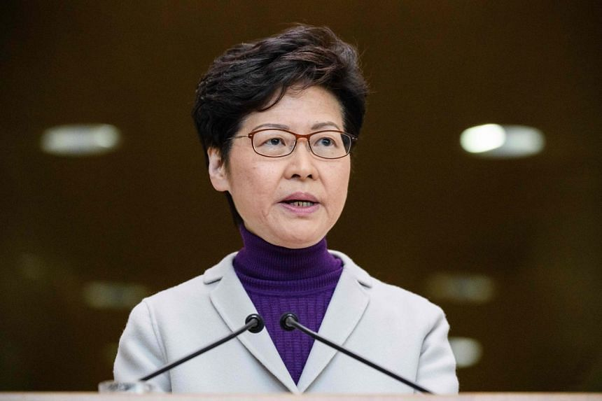 In a photo taken on Dec 3, 2019, Hong Kong Chief Executive Carrie Lam speaks during a press conference at the government headquarters.