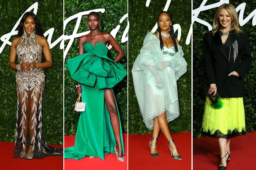Also at the awards were (from left) supermodel Naomi Campbell, who was named Fashion Icon; Adut Akech, who took Model of the Year; singer Rihanna, whose Fenty label picked up the Urban Luxe award; and singer Kylie Minogue.