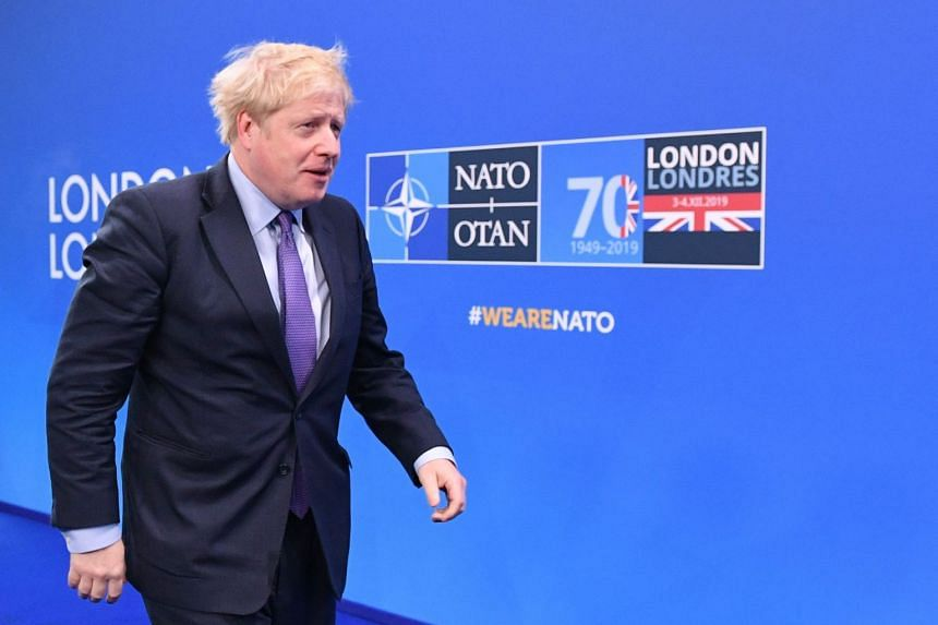 British Prime Minister Boris Johnson arrives at the Nato summit in Watford, north-east of London, on Dec 4, 2019.