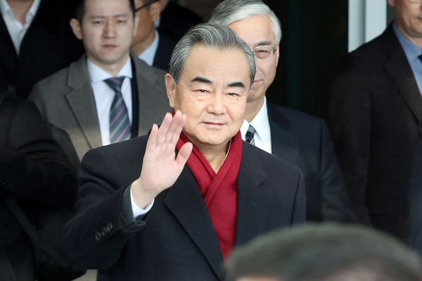 Chinese Foreign Minister Wang Yi arrives at Incheon International Airport, South Korea, on Dec 4, 2019.