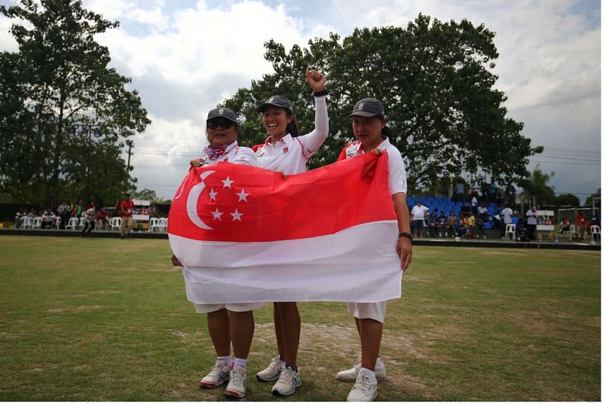 The trio of Lim Poh Eng, Goh Quee Kee and Shermeen Lim took top honours in the lawn bowlers women's triples event.