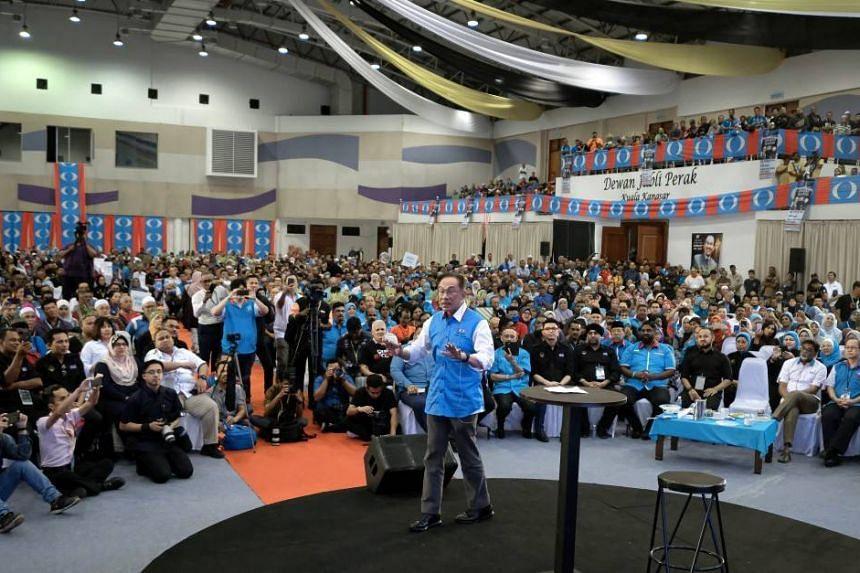 Parti Keadilan Rakyat (PKR) president Anwar Ibrahim speaks at the Perak PKR convention in Kuala Kangsar on Dec 3, 2019.
